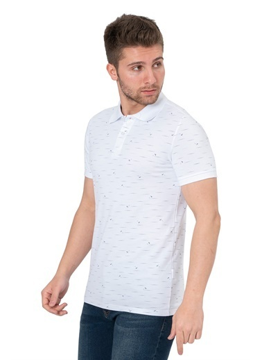White Stone Santo Domingo Norte Slim Fit Polo Yaka T-Shirt Indigo Beyaz